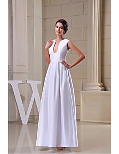 Formal Evening Dress A-line V-neck Floor-length Satin with Draping