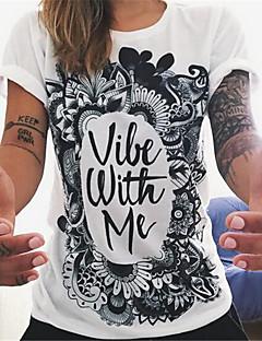 Damen Blumen Einfach / Street Schick Lässig/Alltäglich T-shirt,Rundhalsausschnitt Sommer Kurzarm Weiß Polyester Dünn