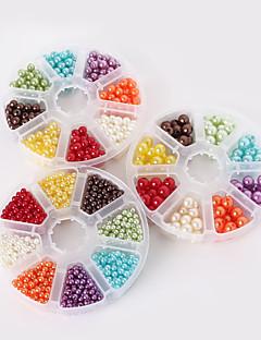 beadia 1set plastik perle perler 4/6 / 8mm runde abs perler blandet farver DIY perler kit til børn