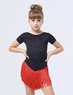 Gyermek-Latin tánc-Ruhák(Fukszia / Piros,Spandex / Poliészter,Bojt(ok))