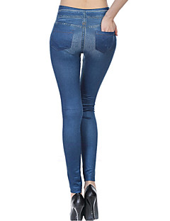 Damer Ensfarvet Denim Legging,Polyester Spandex Normal