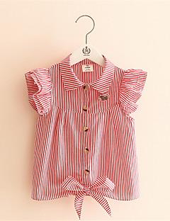 חולצה יום יומי\קז'ואל פסים כותנה קיץ כחול / ורוד / אדום הילדה של