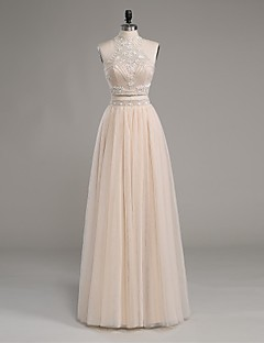 TS Couture® Formal Evening Dress Sheath / Column High Neck Floor-length Satin / Tulle with Beading / Pearl Detailing