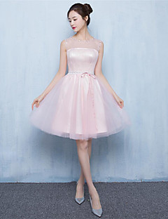 Knee-length Tulle Bridesmaid Dress A-line Jewel with Beading