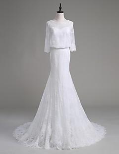 Lanting Bride® A sirena Abito da sposa Strascico di corte Stondata Di pizzo / Raso / Tulle con Perline