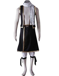 Inspired by Fairy Tail Natsu Dragneel Anime Cosplay Costumes Cosplay Suits Patchwork Black Short SleeveVest / Pants / Scarf / Waist