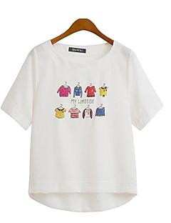 Women's Casual/Daily Plus Size / Street chic Summer T-shirt,Print Round Neck Short Sleeve White / Beige Polyester Medium