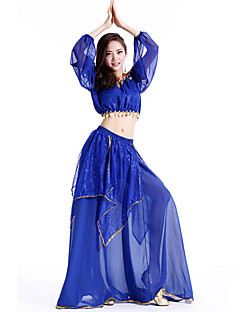 Belly Dance Outfits Women's Performance Chiffon Sequins 2 Pieces Sleeveless Dropped Skirt / Top 35-95