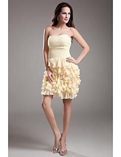 칵테일 파티 드레스 - 짧은 시스 / 칼럼 스윗하트 숏 / 미니 쉬폰 와 비즈 주름장식