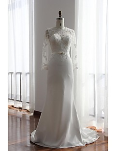 Trumpet / Mermaid Wedding Dress Court Train Jewel Chiffon / Lace with Appliques / Button / Lace / Sash / Ribbon