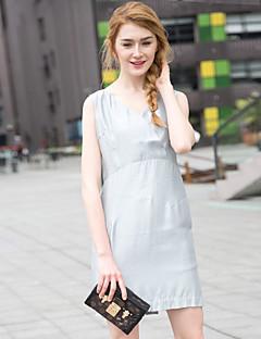 Zishangbaili® Damen V-Ausschnitt Ärmellos Knielänge Kleid-XZ52095