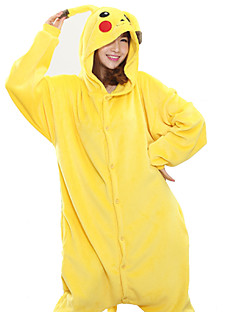 Kigurumi Pajamas New Cosplay® Pika Pika Leotard/Onesie Festival/Holiday Animal Sleepwear Halloween Yellow Patchwork Coral fleece Kigurumi