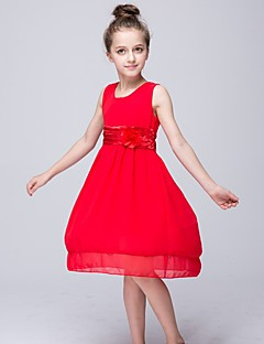 A-line Knee-length Flower Girl Dress-Chiffon / Polyester Sleeveless