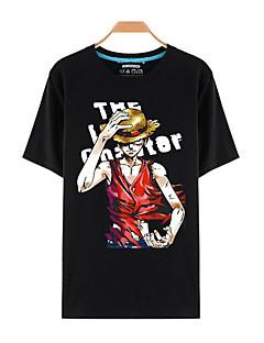 קיבל השראה מ One Piece Monkey D. Luffy אנימה תחפושות קוספליי Cosplay חולצת טריקו דפוס שחור קצר עליון