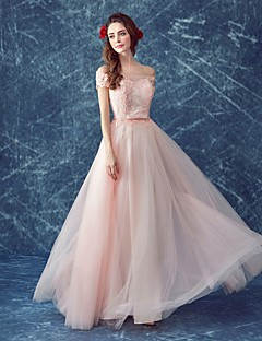 Formal Evening Dress A-line Off-the-shoulder Floor-length Tulle with Beading / Lace
