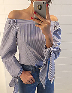 Women's Casual/Daily Sexy / Street chic Summer Blouse,Striped Boat Neck Long Sleeve Blue Cotton Thin