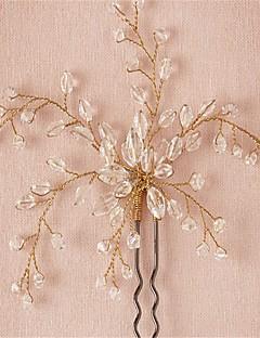 Mulheres / Menina das Flores Crostal / Liga Capacete-Casamento / Ocasião Especial Alfinete de Cabelo 2 Peças Claro Redonde