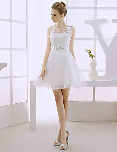 A-라인 웨딩 드레스 숏 / 미니 쥬얼리 튤 와 아플리케 / 비즈 / 레이스 / 허리끈 / 리본