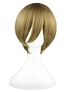 Cosplay Wigs Gintama Okita Sougo Brown Short Anime Cosplay Wigs 35 CM Heat Resistant Fiber Male / Female