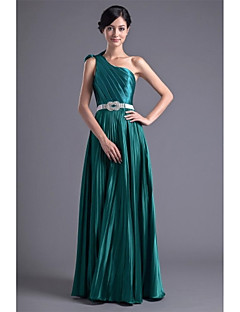 Floor-length Stretch Satin Bridesmaid Dress A-line One Shoulder with Bow(s) / Crystal Detailing / Draping / Side Draping