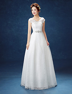A-line Wedding Dress Floor-length Scoop Lace / Satin / Tulle with Lace