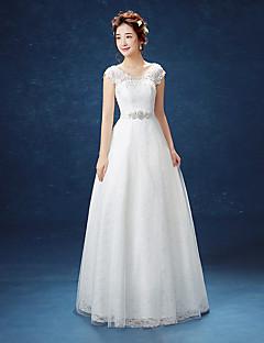 Linha A Vestido de Noiva Longo Decote em U Renda / Cetim / Tule com Renda