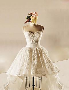 Ball Gown Wedding Dress-Ivory Asymmetrical Strapless Tulle