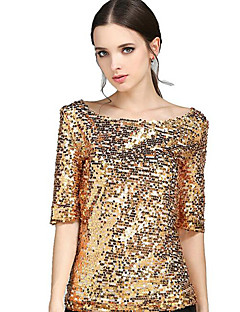 Women's Sequin Solid Gold Sequins Club Casual Street chic Plus Size All Match T-shirt,Round Neck ½ Length Sleeve