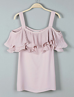 Women's Solid Blue /Pink /White /Black Fashion Chiffon Blouse,Street chic/Cute Off Shoulder Ruffle Pleated Polyester