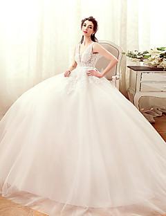 A-line Wedding Dress-Ivory Floor-length V-neck Tulle
