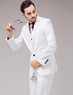 Men's Long Sleeve Regular Blazer+Pant+Vest Set,Cotton / Acrylic Solid 916215