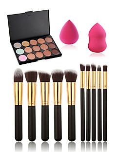 10stk makeup børster satt makeup + 15 farger concealer palette + svamp vann vell