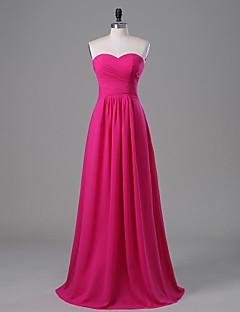 신부 들러리 드레스-A-라인 바닥 길이 끈없는 스타일 / 스윗하트 쉬폰