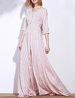 Women's Holiday Street chic Swing Dress,Striped V Neck Maxi ¾ Sleeve Pink Polyester Fall