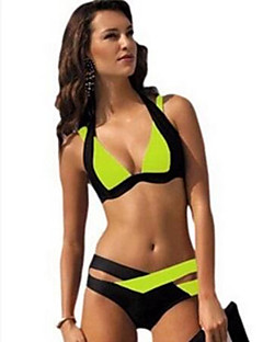 De las mujeres Bikini-MonocolorHalter-Poliéster
