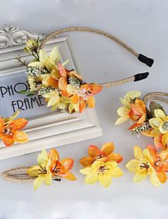 Dame / Blomsterpige Stof Medaljon-Bryllup / Speciel Lejlighed / Afslappet / Udendørs Pandebånd / Blomster / Hårnål 4 Dele