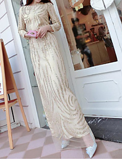 Women's Going out Simple Sheath Dress,Patchwork Round Neck Maxi Long Sleeve Yellow Polyester Spring
