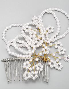 成人用 フラワーガール 合金 人造真珠 かぶと-結婚式 パーティー コーム 1個