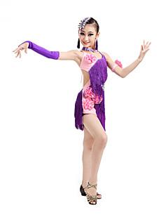 Latin Dance Dresses Children's Performance Spandex Irregular Flowers Tassel(s) Kid's Dance Costumes with Earrings