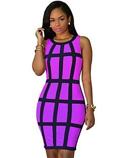 Women's Vintage / Boho Print Slim Backless Split Fashion Sheath Dress,Round Neck Maxi
