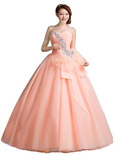 포멀 이브닝 드레스-오렌지 볼 드레스 바닥 길이 끈없는 스타일 오간자 / 스트래치 새틴