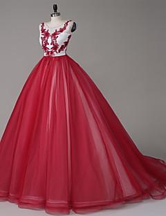 Vestido-Bordô Evento Formal Linha A Decote em U Cauda Corte Tule / Charmeuse
