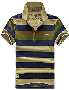 Men's Short Sleeve ,Cotton Casual / Work / Formal / Sport / Plus Sizes Striped