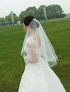 Свадебные вуали Два слоя Фата до кончиков пальцев С лентой по краю Тюль Белый