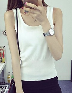 Women's Casual/Daily Street chic Regular Vest,Solid Blue White Black Gray Yellow Strap Sleeveless Cotton Summer Medium Stretchy