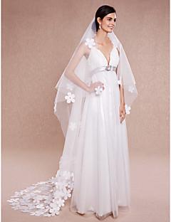 Свадебные вуали Один слой Фата для венчания Обрезанная кромка Тюль Цвет слоновой кости