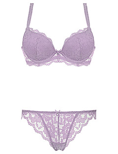 Burvogue Women's Elegant  Intimate Sheer Lace Push Up Bra Sets Lingeries