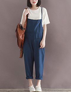 Women's Solid Blue Jumpsuits,Plus Size / Casual / Day Strap Sleeveless Fashion Loose Thin Cotton/Linen