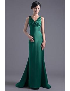 Formal Evening Dress Trumpet / Mermaid V-neck Sweep / Brush Train Satin with Pleats