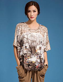 여성의 프린트 라운드 넥 짧은 소매 티셔츠 면